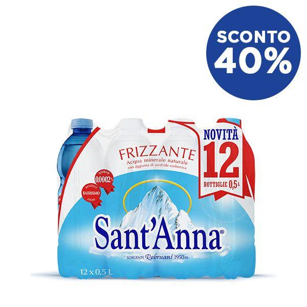 Acqua Sant'Anna 0,5L frizzante x12 in sconto 40%