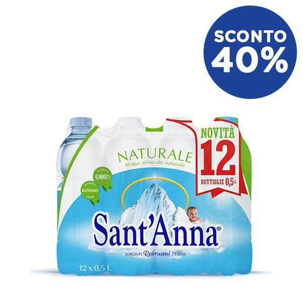 Acqua Sant'Anna Naturale 0,5L x12 con sconto 40%
