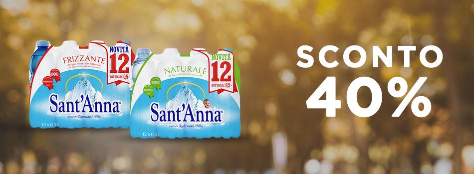 Banner promo 40% Acqua Sant'Anna 0,5L